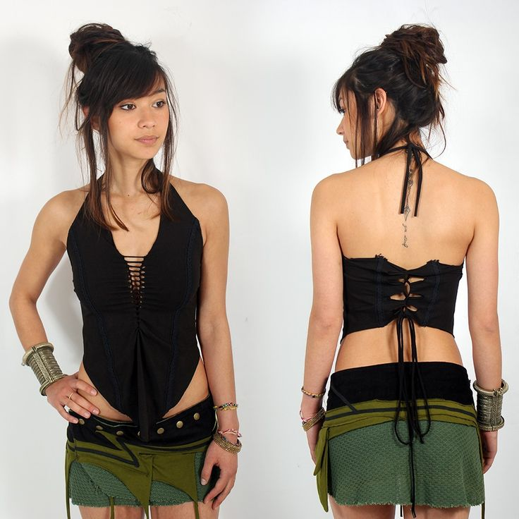 "Top dos nu Exception ""Sukay"", Noir Tribal/Boho/Fairy look. Festival clothing, Summer clothing"