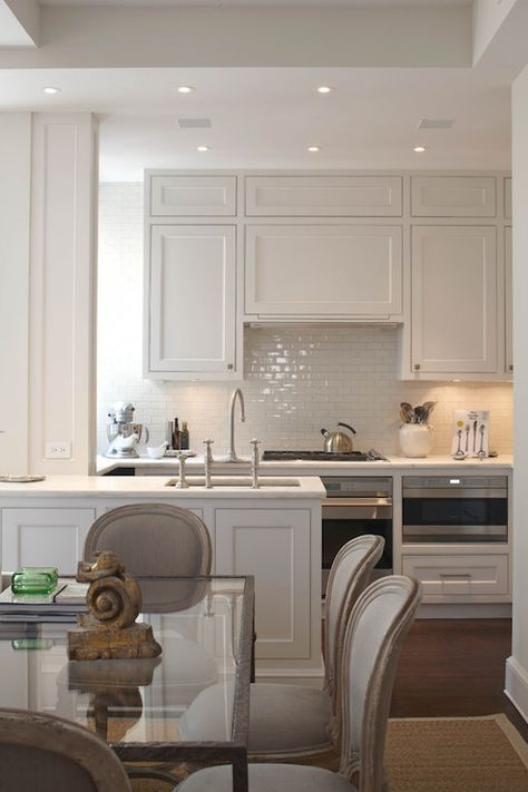 Prestige Mouldings & Construction: Beautiful kitchen with recessed lighting in coffered ceiling as well as dark stained … | Interior Design Pro