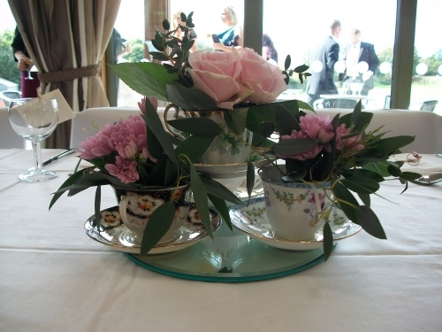Beautiful Floral Vintage Table Centre With Mirror Plate, Mis Matched Tea  Cups And Floral