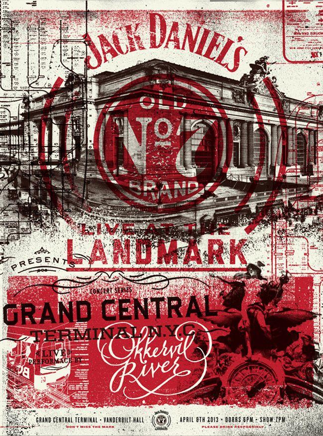 """Poster de evento de Jack Daniels. Colores rojo y negro. Todo sucio y desgastado. En el centro aparece un edificio y sobre él el logo """"OLD Nº..."""