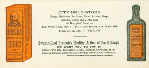 Ink-Blotter-Dr-Kilmers-Swamp-Root-Drug-Store-Bellville-Texas-c1910-RARE-MINT