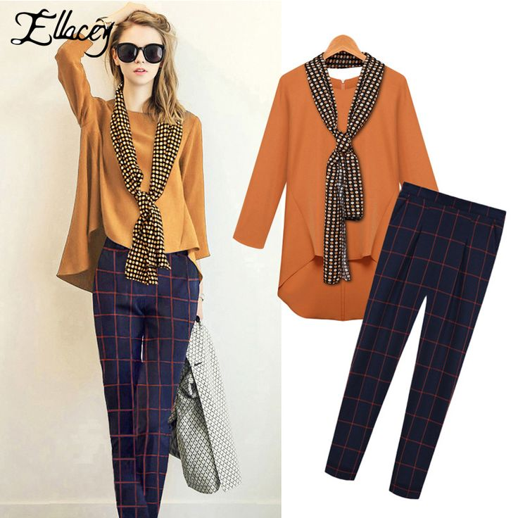 New Arrival 2017 Brand Spring Autumn Fashion Women's Suits Loose Chiffon Blouses+Plaid Pants+Scarves 3 Pieces Set Free Shipping