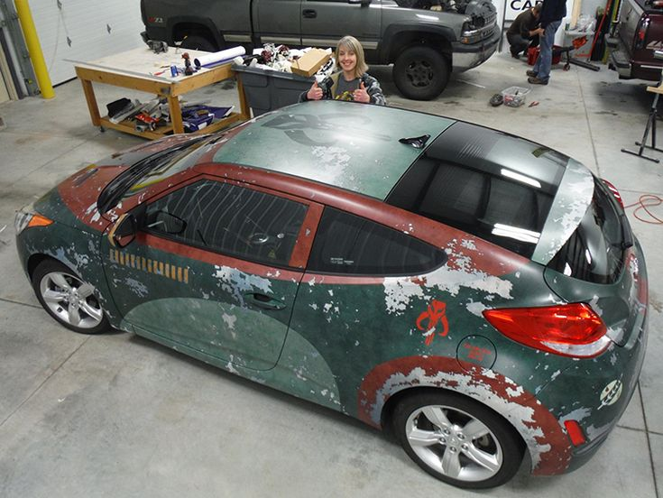 Artist Rebekah Stieg Knuth of Knuthart Studios recently posted photos of her out of this world Star Wars-themed Hyundai Veloster that she had covered in a Boba Fett-style vehicle wrap. Knuth, who h...