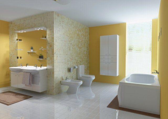 salle de bain moderne en couleur jaune avec une baignoire et toilettes