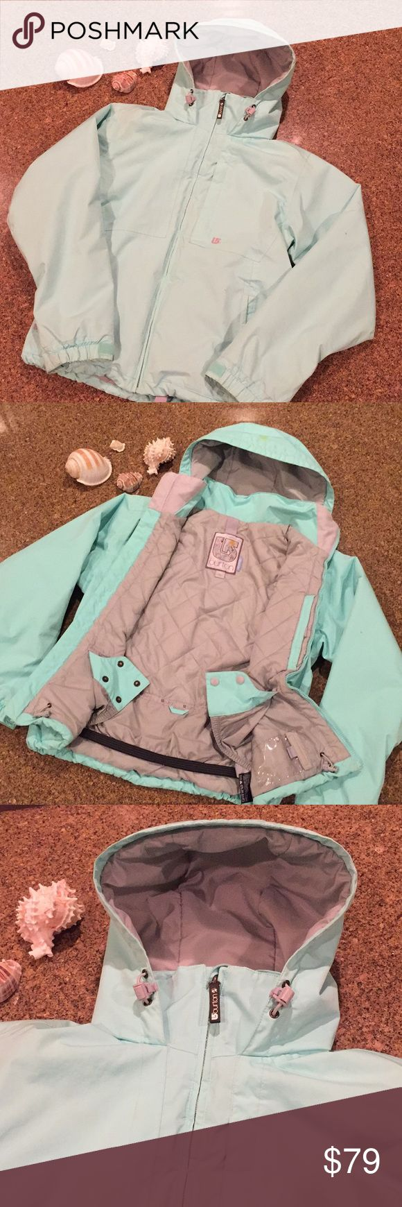 Burton snowboard jacket Burton snowboarding jacket beautiful light turquoise color! Will keep you extra dry and warm on the mountain! Please see pictures for more information! Please bundle and save to save extra even like giving out free items just let me know what you're interested in Burton Jackets & Coats