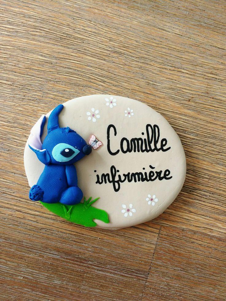 réservé badge infirmière personnalisé stitch : Pins, badges par estelle-badge-fimo