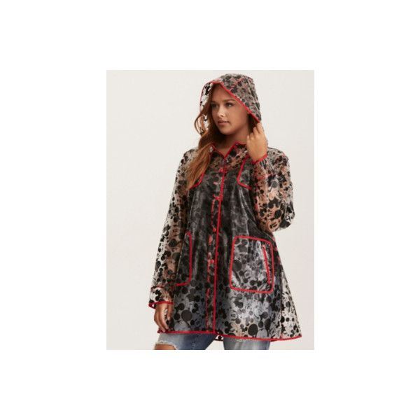 Torrid Disney Mickey Mouse Print Rain Coat ($59) ❤ liked on Polyvore featuring outerwear, coats, plus size, rain coats, torrid coats, transparent raincoats, transparent coat, sheer coat and transparent rain coats