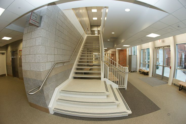 Treads On White Epoxy Terrazzo Stairs Help Provide Safe