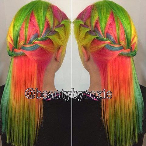 tropical rainbow  dyed hair orange lime pink neon