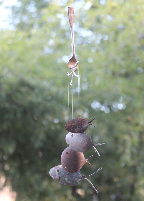 Rustic spoon fish wind chimes silver flatware art barn for Fish wind chimes