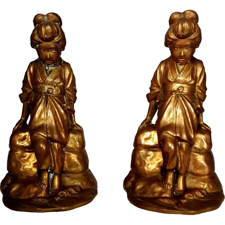 Gold Tone Jennings Brothers Geisha Asian Women Bookends