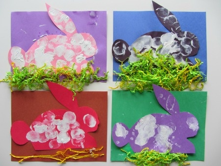 "Use this bunny outline with different construction paper color, cotton balls and different color Easter grass too! Maybe a ""Hoppy Easter"" on the bottom. For the toddlers I likely will just be able to do one bunny."