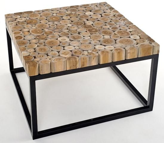 Natural Wood Furniture/coffee table with metal base.....i like this idea but i would use 4x4 squares