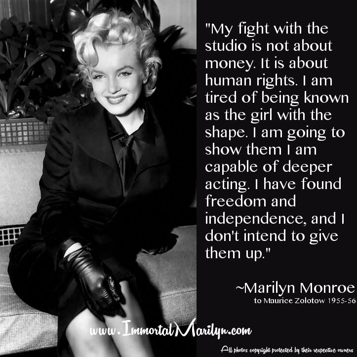 Marilyn Monroe Photos And Quotes: Marilyn Monroe Quote - Fight With The Studio