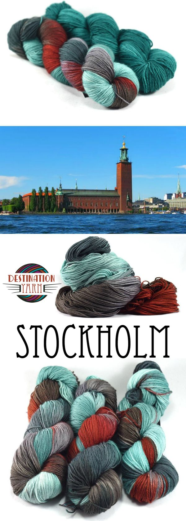 Inspired by the colors of the Stockholm City Hall-patina teals from light through grayer and darker shades, with pops of brick red and gray. Hand-dyed, sock/fingering weight yarn for knitting, crochet, and DIY yarn crafts.
