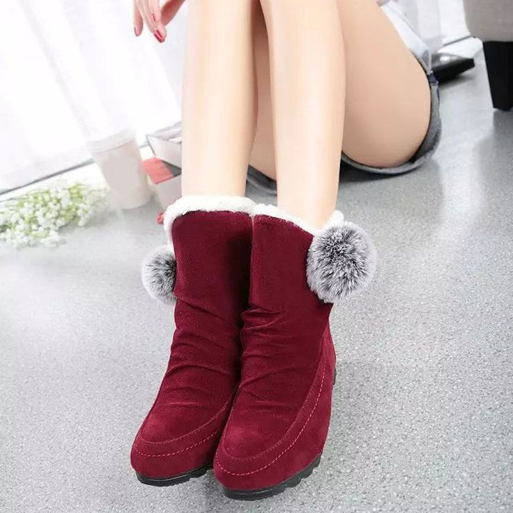 New Women Fashion Ankle Boots Thick Winter Flats Shoes Warm Suede Soft Shoes Lot #1989_2019 #AnkleBoots #Casual