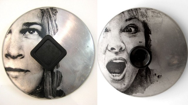 Ordinary to Extraordinary*****  Florida-based artist Sally Mankus utilizes old kitchenware, including pot lids and pans, to create mixed-media works such as these portraits.