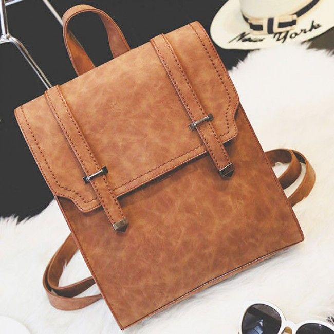 How nice Retro Brown Metal Lock Match Large Scrub High School Bag Matte Square PU Backpack ! I like it ! I want to get it ASAP!