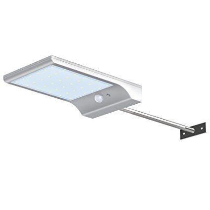 InnoGear Solar Gutter Lights Wall Sconces with Mounting Pole Outdoor Motion Sensor Detector Light
