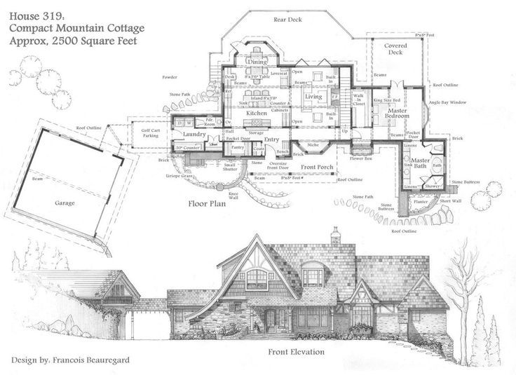 Front Elevation, First And Second Floor Plans. Description