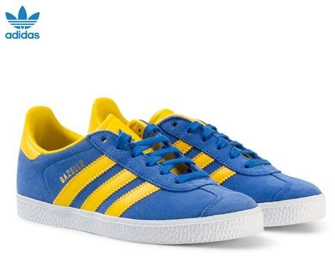 Blue and Yellow Kids Gazelle Trainers. adidas ...