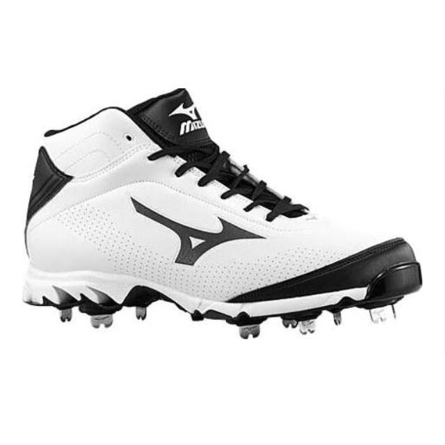 White Mizuno metal softball ball cleats