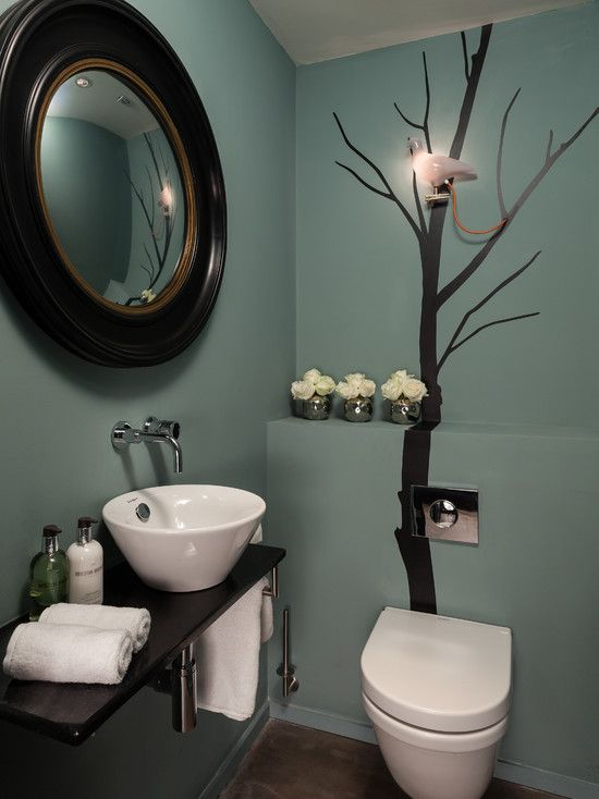 Images Photos Bathroom Design Contemporary Powder Room Decorating Ideas With Dry Tree Theme Also Cute Pendant Lamp