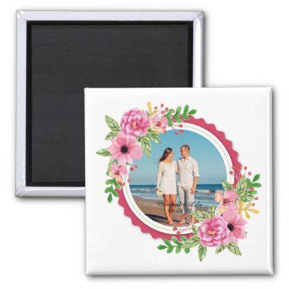 Elegant Add Your Own Photo Wedding | Magnet - anniversary cyo diy gift idea presents party celebration