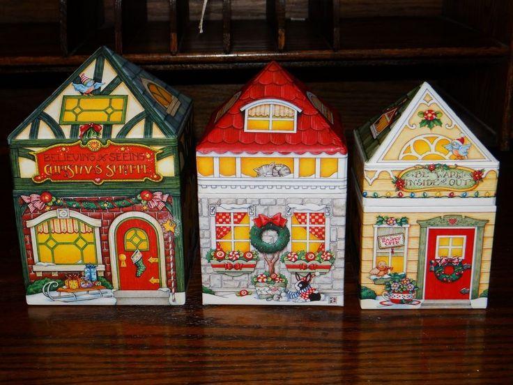 Mary Engelbreit Santa Christmas Shoppe Studio Display Gift Box Set of 3