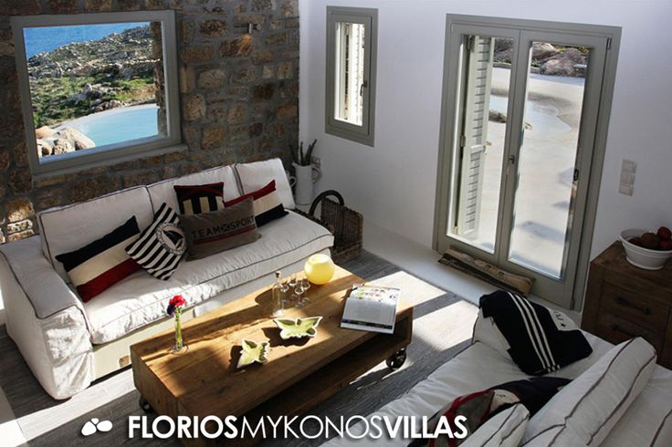 The villa's charming interior, is a combination of minimal architecture with  beach house elements. FMV1482 Villa for Rent on Mykonos island Greece. http://florios-mykonos-villas.com/property/fmv1482/