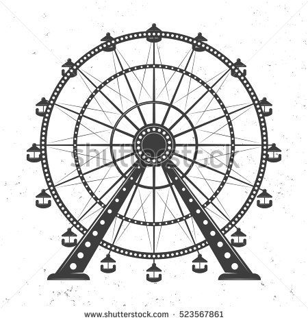 Ferris Wheel Vector Monochrome Illustration Isolated On White Background With Texture Roller Coaster Drawing Ferris Wheel Ride Drawing