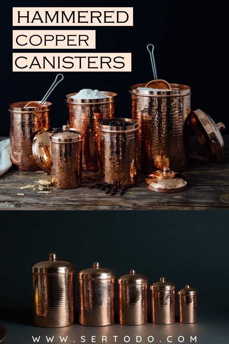 Custom Engraved Hammered Copper Canisters Copper Kitchen Accessories Copper Kitchen Copper Canisters