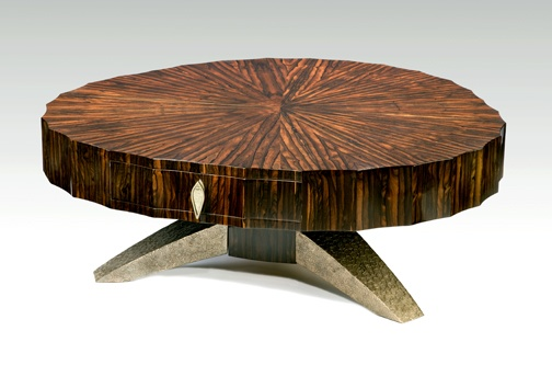Coffee Table 1 Kent Townsend Macassar Ebony Handmade Silver Pulls Bronze Base Art Wood