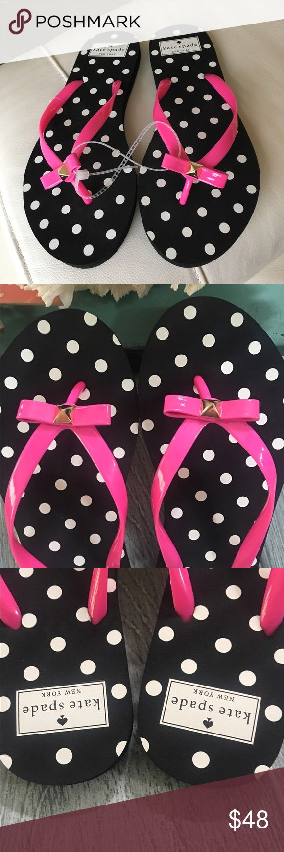 SALE!💕 Kate Spade Pink black polka dot flip flops Super Cute Kate Spade New York pink flip flops with black polka dot soles! They are new without Box in. A Sz 7 women's! kate spade Shoes Sandals