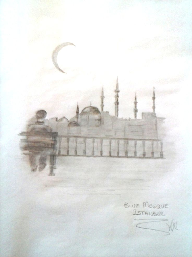 Blue Mosque Istanbul in pencil