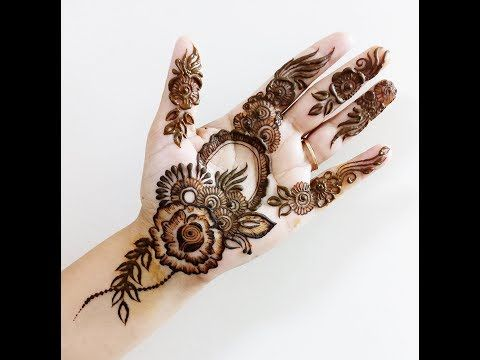 New easy n short heena mehndi design for front hand || Karwa Chauth Special 2017 - YouTube