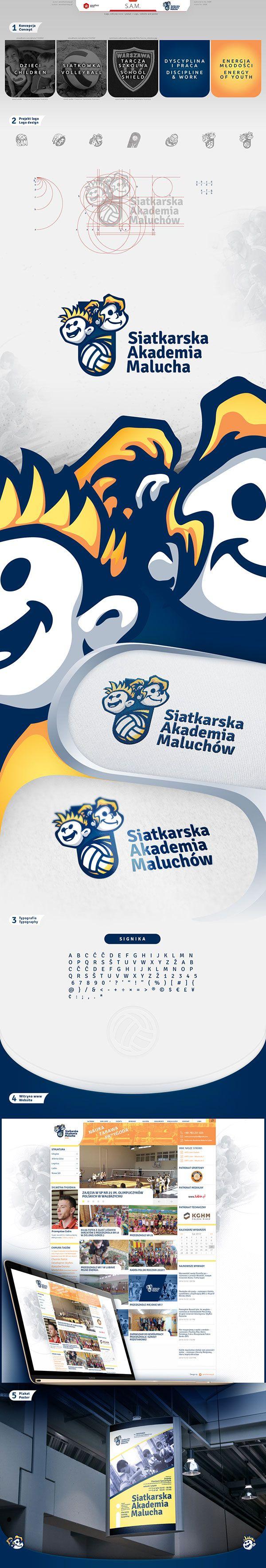 "Logo, website and poster design for private volleyball school, for pre-school, elementary and junior high school children, called ""Volleyball Children Academy"" (in polish: ""Siatkarska Akademia Maluchów""- short: ""SAM""). #siatkówka, #szkoła, #zabawa, #nauka, #dzieci, #logo, #plakat, #strona www"