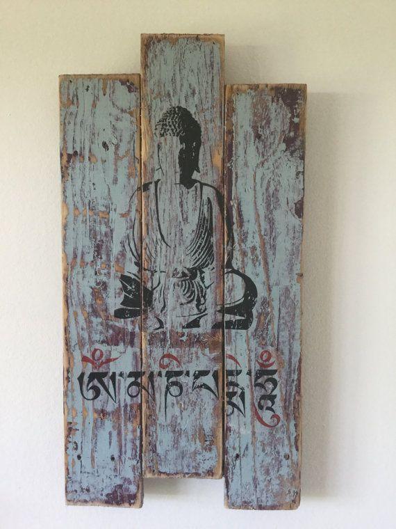 Pallet Wood Art Buddha Mantra Wall Art Buddha Wall Stencil Shabby Chic Home…