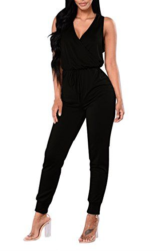 58f6e3a2119 Fixmatti Women Sleeveless V-Neck Lace up Pant Set Clubwear Jumpsuit Black M