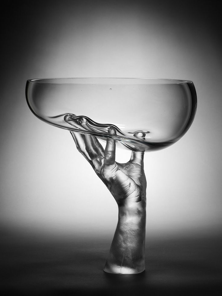 Glass art hand held bowl by bruno romanelli