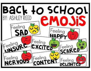 These FREE emoji signs are perfect for first day pictures!  Set up a cute backdrop and let students choose the sign that matches their emotions for the day.  There's also a student response page that would make a cute bulletin board display.  Have students write in how they feel and then draw the emoji face on the apple!Enjoy!