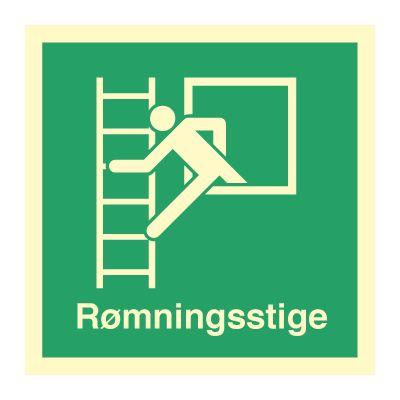 Rømningsstige med tekst - Bestil hos Denfoil.no