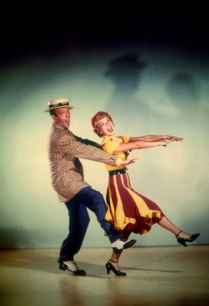 "Fred Astaire and Jane Powell publicity photo for ""Royal Wedding."""