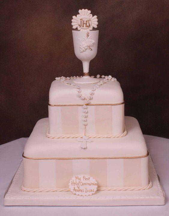 Two tier communion cake.