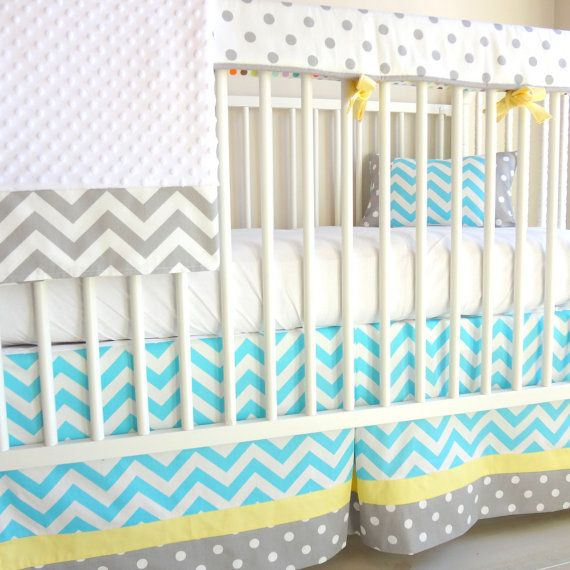 Chevron blue and yellow bumperless crib rail by babymilanbedding, $230.00. With light blue instead of aqua.