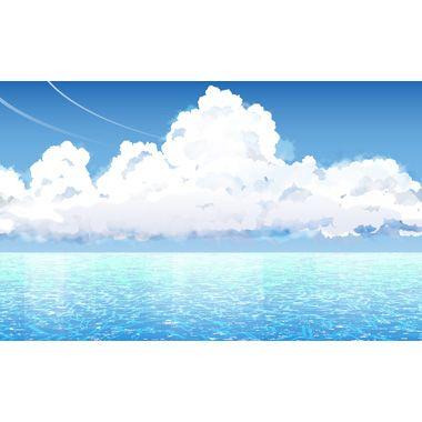 海_積雲型入道雲_背景素材akagi048