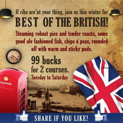 This week's best of the British for 99 bucks is a choice of 2 courses. Our very own pom, has created this yummy menu: Starters; a choice of: Tomato, lentil and cheddar soup or Warm salad of chicken liver, bacon and balsamic cherry tomato  Mains, a choice of: Venison wellington, bubble and squeak and a port and cranberry sauce or Pan fried angel fish, wilted kale and a mussel, fennel and caper casserole  Dessert Rhubarb and ginger steamed pudding with vanilla custard