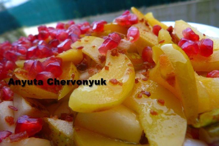 Ensalada Templada con Frutas de Invierno, Endivias y Panceta.- Тёплый салат с эндивием и айвой. | Anyutacocinera's Blog