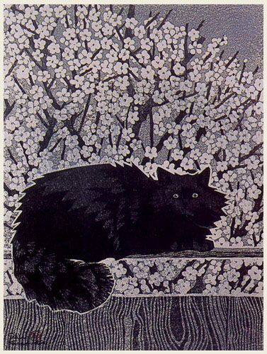 hanga gallery . . . torii gallery: Black Cat by Shiro Kasamatsu: