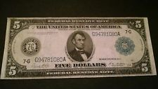 1914 $5 Five Dollar Large Bill Federal Reserve Note  Chicago ILL